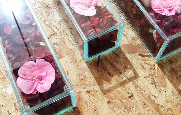 Mobiliario Floral en Vidrio